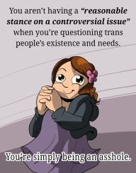 "You aren't having a ""reasonable stance on a controversial issue"" when you're questioning trans people's existence and needs. You're simply being an asshole."