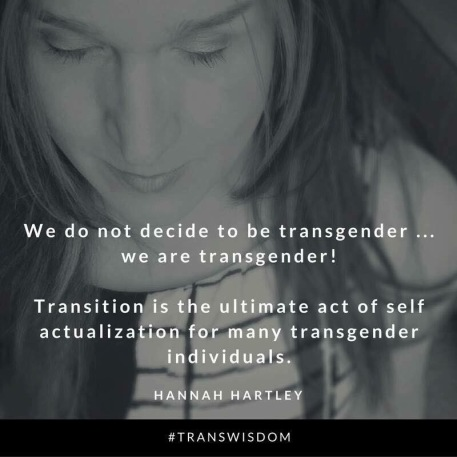 We do not decide to be transgender... we are transgender! Transition is the ultimate act of self actualization for many transgender individuals. -Hannah Hartley