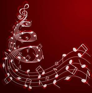 39521824-stock-vector-notes-and-treble-clef-in-the-shape-of-a-christmas-tree-on-a-red-background-